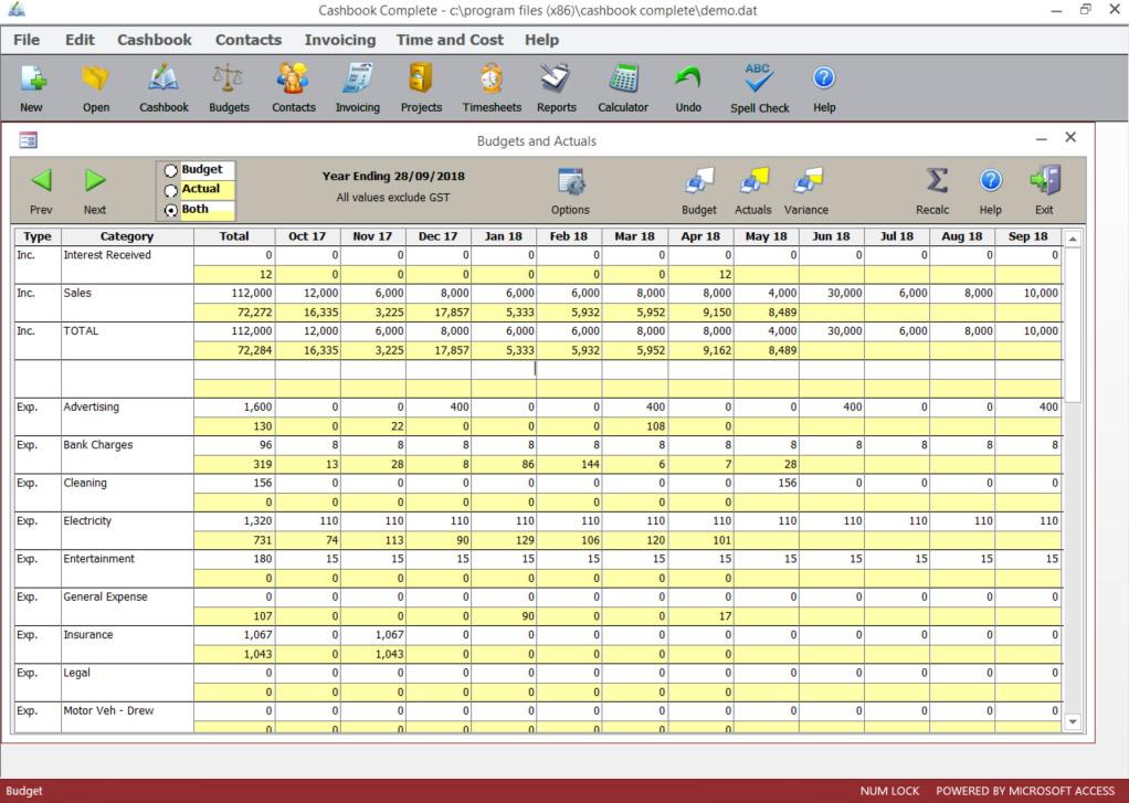 Budgets & Actuals screen