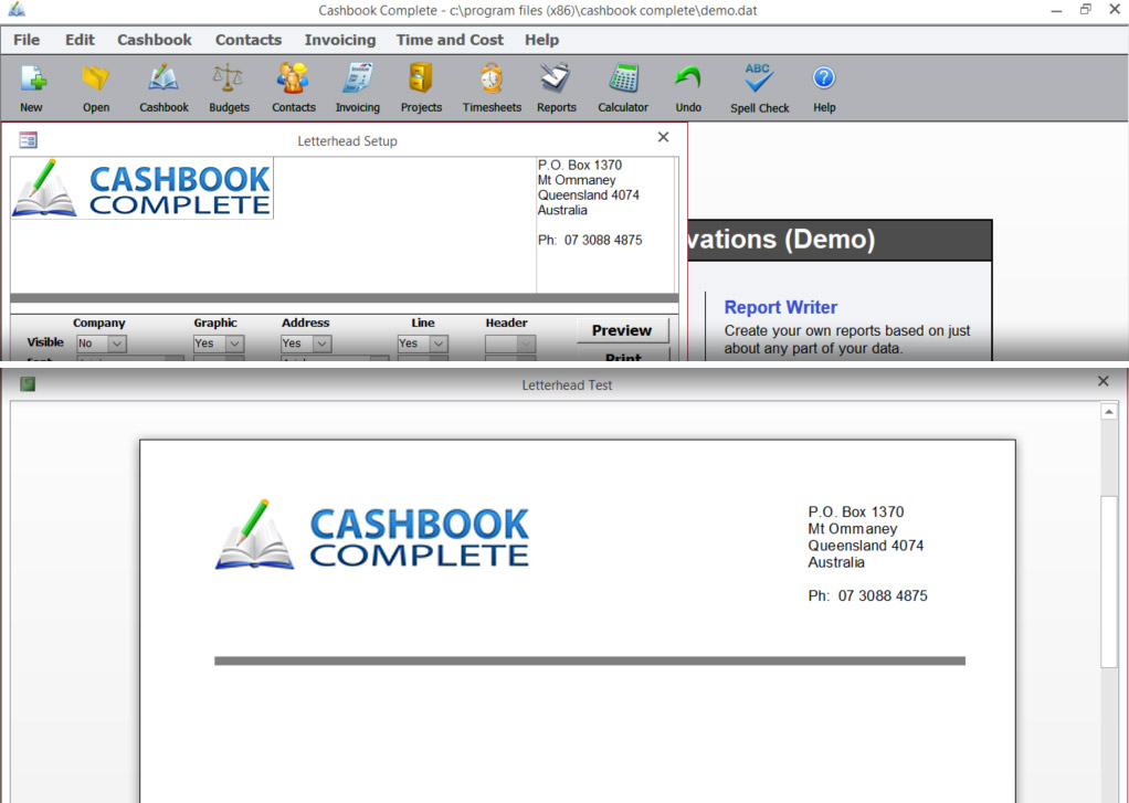 Letterhead Setup screen