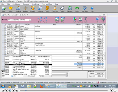 Paying off invoices in Cashbook Complete
