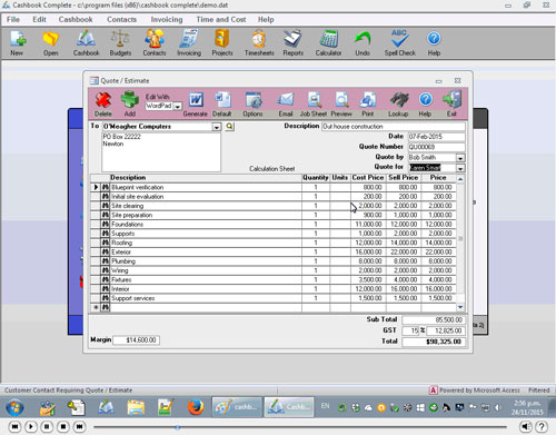 How to produce quotes or estimates in Cashbook Complete